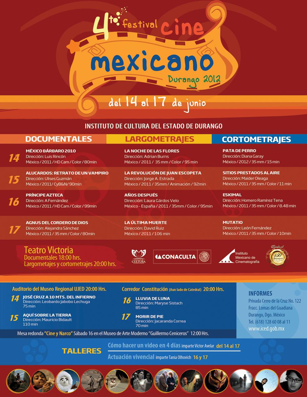 Programación del cuarto Festival de Cine Mexicano de Durango – Re Toma