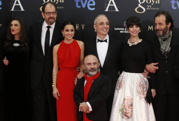 """Director Berger poses with cast members of """"Blancanieves"""" as they arrive for the Spanish Film Academy's Goya Awards ceremony in Madrid"""