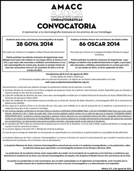 convocatoriaGoyayOscar2014