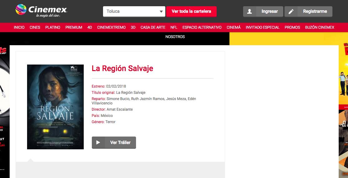 La región salvaje Cinemex